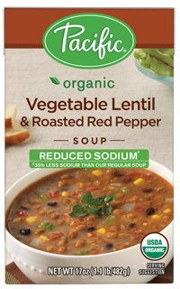 "Boxed Organic Soup, Pacific® Organic ""Low Sodium"" Vegetable Lentil & Roasted Red Pepper Soup (17 oz Box)"