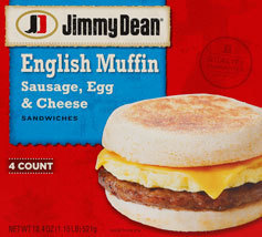 Frozen English Muffins, Jimmy Dean® English Muffin with Sausage, Egg & Cheese (4 Count)