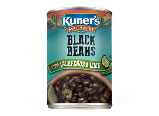 "Canned Beans, Kuner's® No Salt ""Jalapeño with Lime Juice"" Black Beans (15 oz Can)"