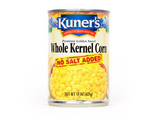 Canned Corn, Kuner's® Whole Kernel Corn, No Salt Added (15 oz Can)