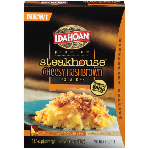 "Frozen Potatoes, Idahoan® ""Steakhouse Cheesy"" Shredded Hash Browns (5.03 oz  Box)"