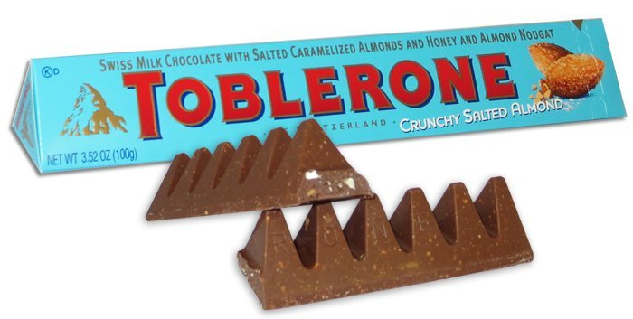 Chocolate, Toblerone® Swiss Milk Chocolate with Salted Almonds (3.52 oz Bar)