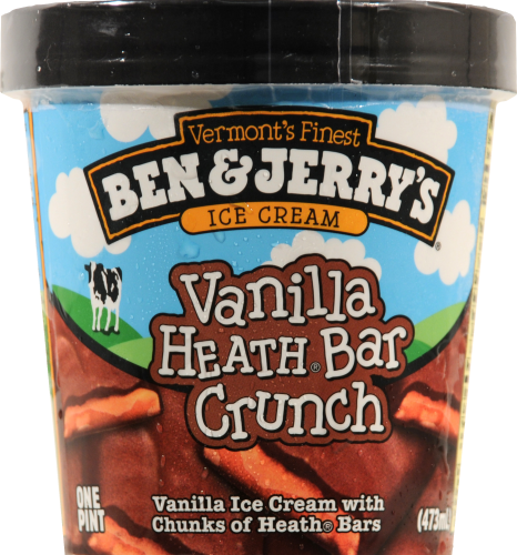 Ice Cream, Ben & Jerry's® Vanilla Heath Bar Crunch Ice Cream (1 Pint, 16 oz Cup)