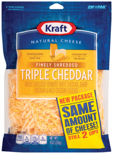 Shredded Cheese, Kraft® Finely Shredded Triple Cheddar Cheese (8 oz Resealable Bag)