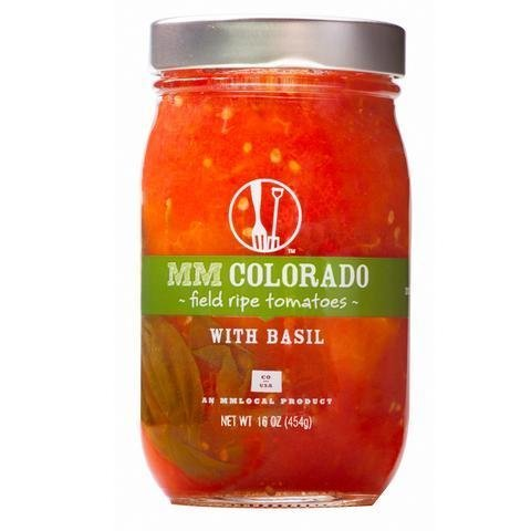 Preserved Tomatoes, MM Colorado® Field Ripe Tomatoes with Basil (16 oz Jar)