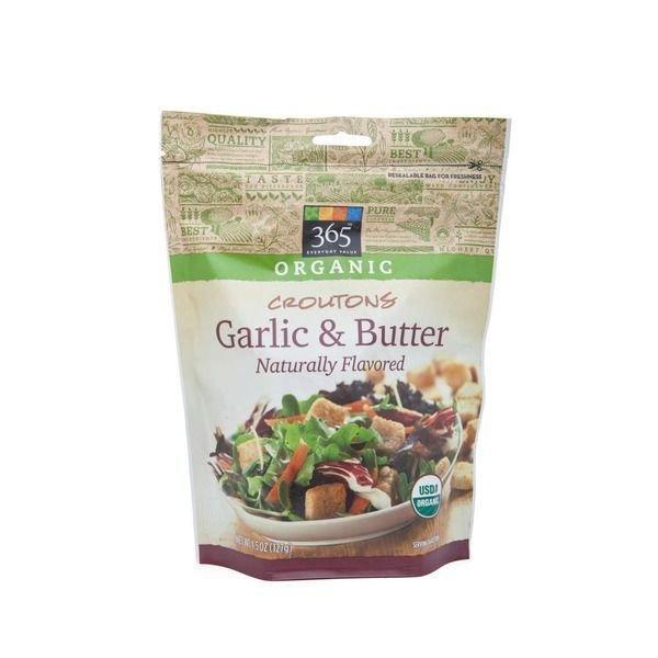 Croutons, 365® Organic Garlic & Butter Croutons (4.5 oz Bag)