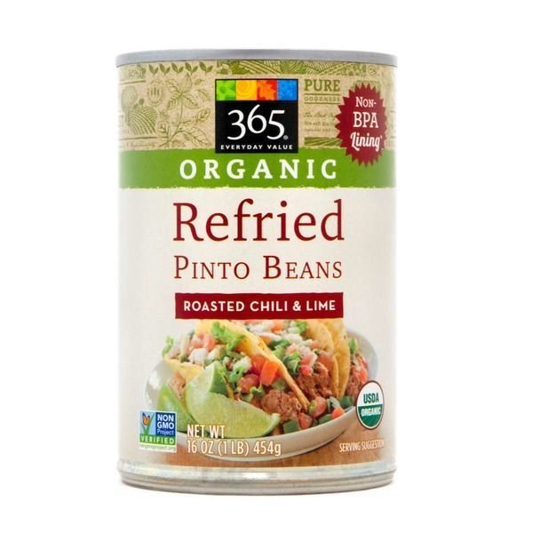 """Canned Refried Beans, 365® Organic """"Roasted Chili & Lime"""" Refried Pinto Beans (16 oz Can)"""