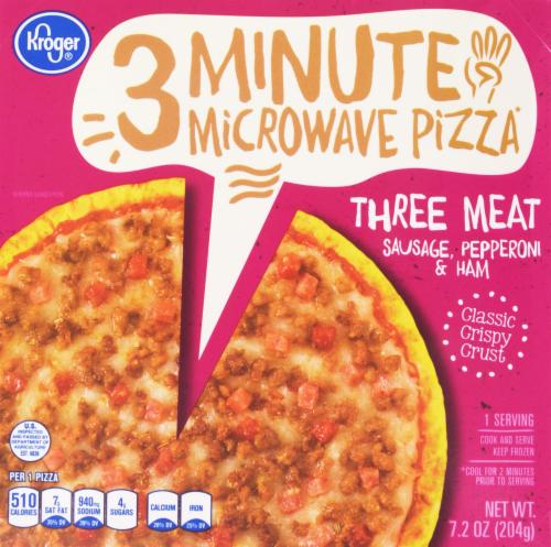 Frozen Pizza, Kroger® 3 Minute Microwave™ Three Meat Pizza (7.2 oz Box)