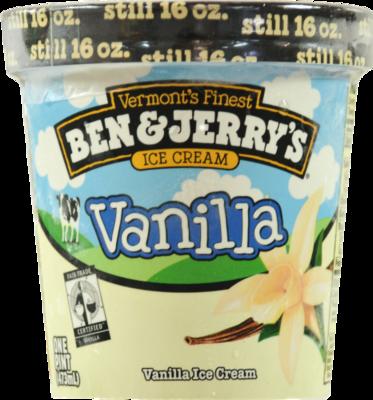Ice Cream, Ben & Jerry's® Vanilla Ice Cream (1 Pint, 16 oz Cup)