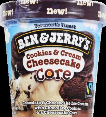 Ice Cream, Ben & Jerry's® Cookies & Cream Cheesecake Core Ice Cream(1 Pint, 16 oz Cup)