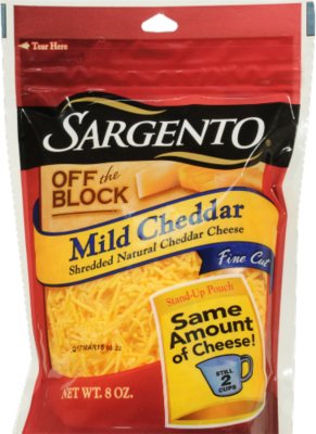 Shredded Cheese, Sargento® Shredded Mild Cheddar Cheese (8 oz Bag)