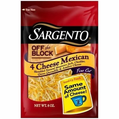 Shredded Cheese, Sargento® Shredded 4 Cheese Mexican Blend (8 oz Resealable Bag)