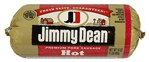 Fresh Ground Sausage, Jimmy Dean® Premium Pork Hot Sausage (16 oz Tube)