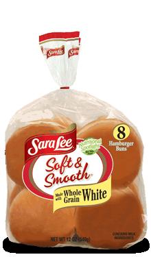 Hamburger Buns, Sara Lee® Soft & Smooth™ White Hamburger Buns (8 Buns, 21 oz Bag)