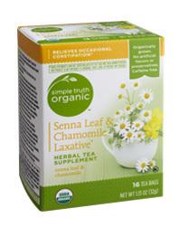 Tea, Simple Truth Organic™ Senna Leaf & Chamomile Laxative Herbal Tea Supplement