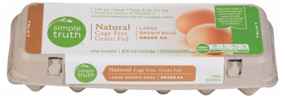 Eggs, Simple Truth™ Large Brown Eggs Grade AA (1 Dozen-12 Eggs)
