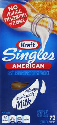 Cheese, Kraft® American Singles Cheese (72 oz Bag, 48 Count)