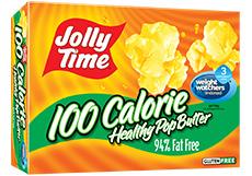 Microwave Popcorn, Jolly Time® Healthy Pop, 100 Calorie, Butter, 4.8 oz. Box (4 Mini Bags)