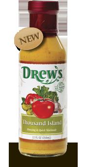 Salad Dressing, Drew's® Thousand Island Dressing/Quick Marinade (12 oz Bottle)