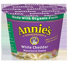 Mac N Cheese Cup, Annie's® Microwavable White Cheddar Macaroni & Cheese (2.01 oz Cup)