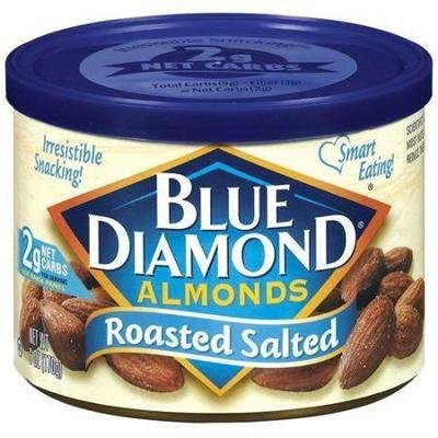 Snack Food, Nuts, Blue Diamond® Almonds, Roasted Salted, 6 oz Can