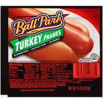 Turkey Hot Dogs, Ball Park® Turkey Franks, Bun Size, 8 Franks, 15 oz Resealable Bag
