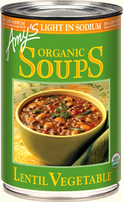 Canned Organic Soup, Amy's® Organic Lentil Vegetable Soup, Light Sodium (14.5 oz Can)