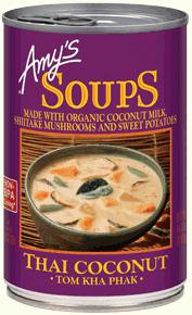 Canned Organic Soup, Amy's® Organic Thai Coconut Tom Kha Phak Soup (14.1 oz Can)