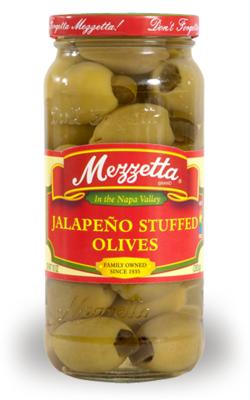 Preserved Olives, Mezzetta® Jalapeño Stuffed Olives (10 oz Jar)