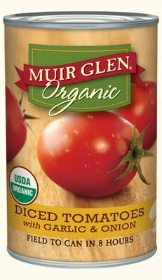 Canned Tomato, Muir Glen® Organic, Diced Tomatoes with Garlic and Onion, 14.5 oz Can