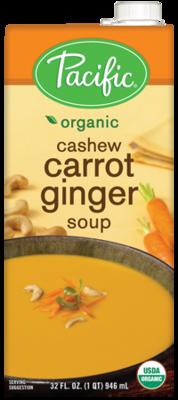 Boxed Organic Soup, Pacific® Organic Cashew Carrot Ginger Soup (32 oz Box)