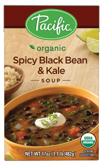 Boxed Organic Soup, Pacific® Organic Spicy Black Bean and Kale Soup (17.6 oz Box)