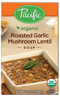 Boxed Organic Soup, Pacific® Organic Roasted Garlic Mushroom Lentil Soup (17.6 oz Box)
