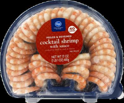 Frozen Shrimp, Kroger® Peeled & Deveined Shrimp with Cocktail Sauce (22 oz Tray)