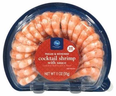 Frozen Shrimp, Kroger® Peeled & Deveined Shrimp with Cocktail Sauce (11 oz Tray)