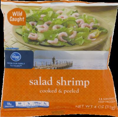 Frozen Shrimp, Kroger® Cooked & Peeled Salad Shrimp (¼ Pound = 4 oz Bag)