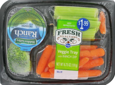 Vegetables, Medley, Fresh Selections® Vegetable Tray with Ranch Dip (6.75 oz Tray)