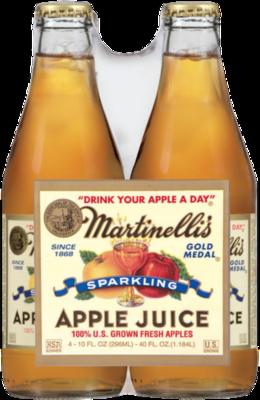 Apple Juice, Martinelli's® 100% Sparkling Apple Juice (4 Bottles, 10 oz Bottle)