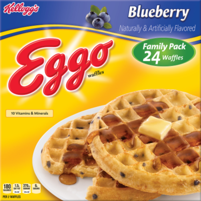 Frozen Waffles, Kellogg's® Eggo® Blueberry Waffles (24 Count, 29.6 oz Box)