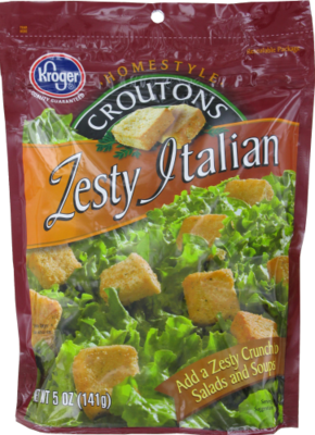 Salad Croutons, Kroger® Zesty Italian Croutons (5 oz Bag)