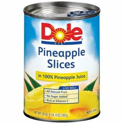 Canned Fruit, Dole® Pineapple Slices in 100% Juice (20 oz Can)