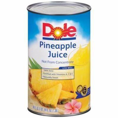 Canned Fruit, Dole® 100% Pineapple Juice (46 oz Can)