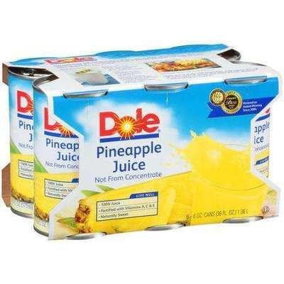 Juice Drink, Dole® 100% Pineapple Juice (6 Cans, 6 oz Can)