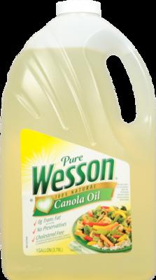 Canola Oil, Wesson® Pure Canola Oil (128 oz Bottle)