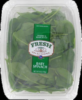 Fresh Salad Greens, Fresh Selections® Baby Spinach (6 oz Tray)