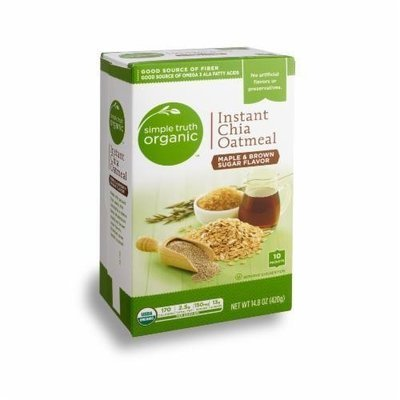 Organic Hot Cereal, Simple Truth Organic™ Instant Chia Oatmeal (14.8 oz Box)