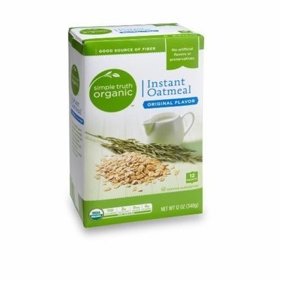 Organic Hot Cereal, Simple Truth Organic™ Instant Maple & Brown Sugar Oatmeal (14.8 oz Box)
