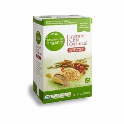 Organic Hot Cereal, Simple Truth Organic™ Instant Chia Oatmeal Cinnamon & Cranberry (14.8 oz Box)
