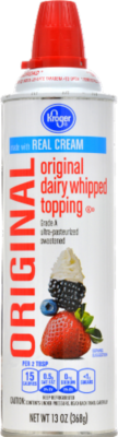 Whipped Cream, Kroger® Original Whipped Cream (13 oz Can)