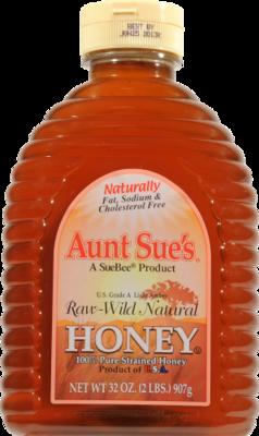 Honey, Aunt Sue's® Raw Wild Natural Honey (32 oz Bottle)